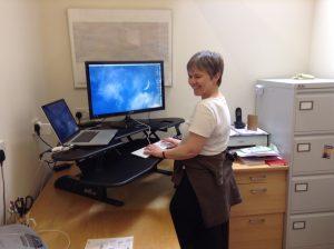 Standing desk in action